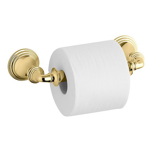 Devonshire Wall-Mount Double Post Toilet Paper Holder in Vibrant Polished Brass