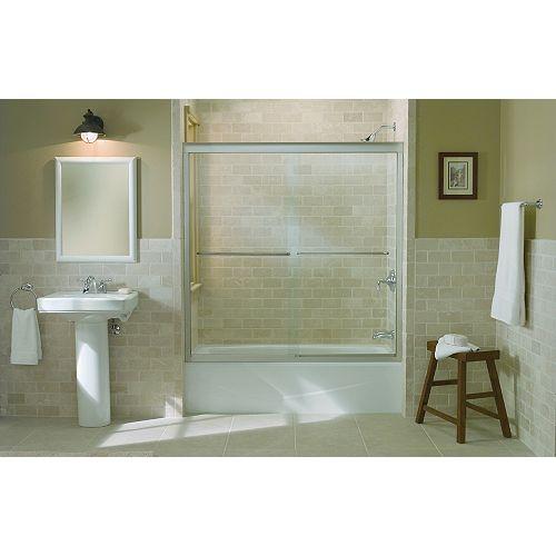 KOHLER Fluence 59-5/8-inch x 58-5/16-inch Semi-Frameless Sliding Bathdoor in Matte Nickel with Handle
