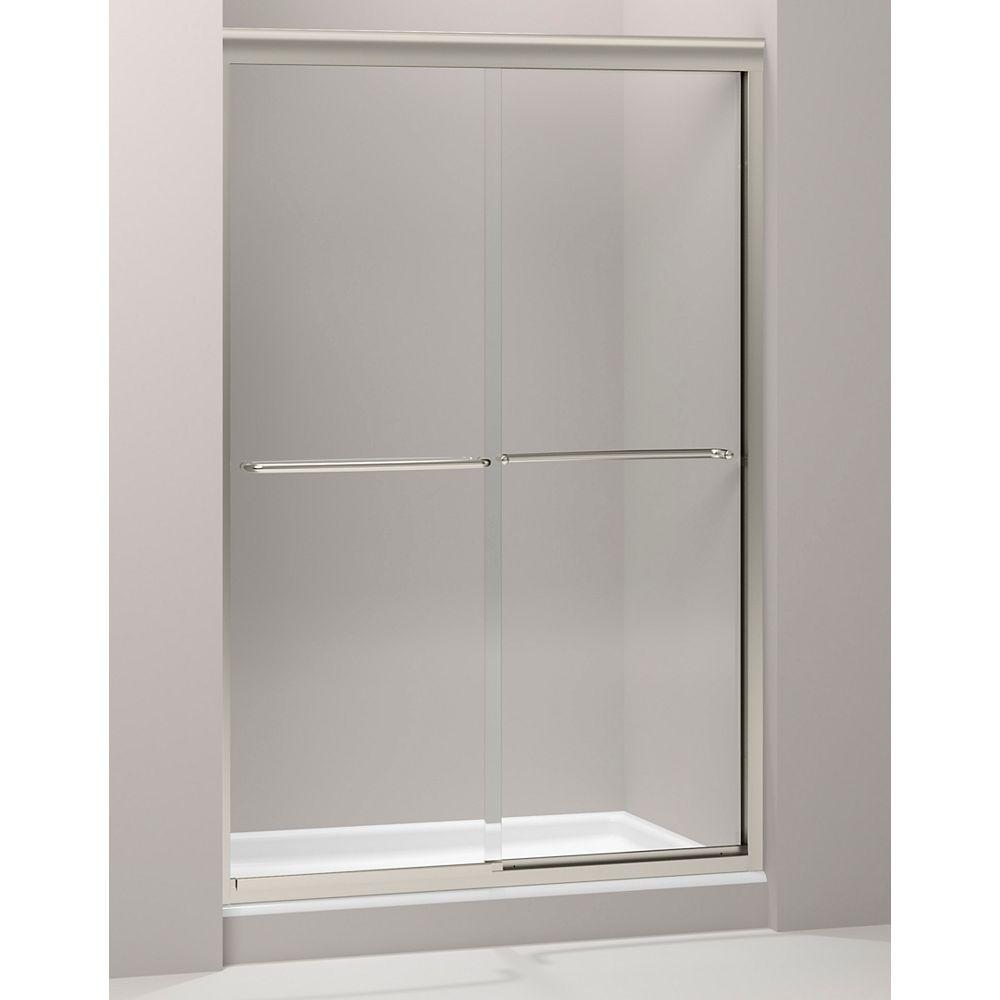 KOHLER Porte de douche coulissante Fluence, 70 5/16 x 44 5/8 - 47 5/8 po, avec verre Crystal Clear de 1/4 po d'epaisseur