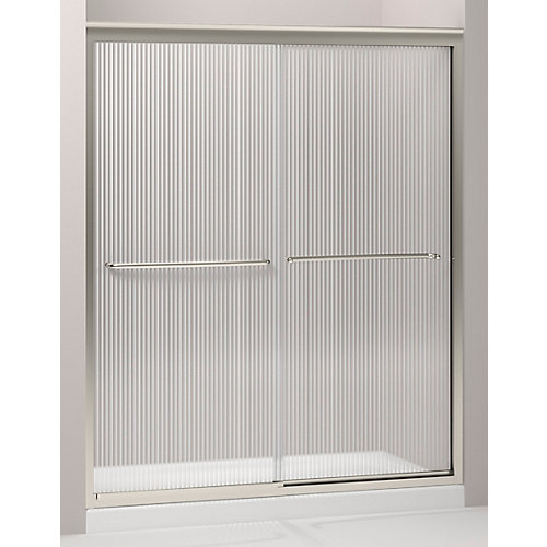 Fluence 59-5/8-inch x 70-5/16-inch Semi-Frameless Sliding Shower Door in Matte Nickel with Handle