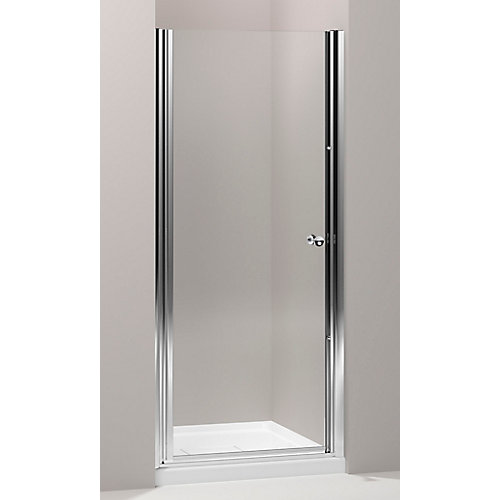 Fluence 30-1/4-inch x 65-1/2-inch Semi-Frameless Pivot Shower Door in Bright Silver with Handle