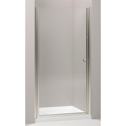 Fluence Frameless Pivot Shower Door in Matte Nickel