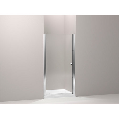 Fluence 34-inch x 65-1/2-inch Semi-Frameless Pivot Shower Door in Bright-Silver with Handle