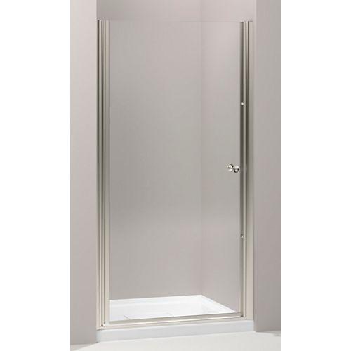 KOHLER Fluence 35-1/4-inch x 65-1/2-inch Semi-Frameless Pivot Shower Door in Matte Nickel with Handle