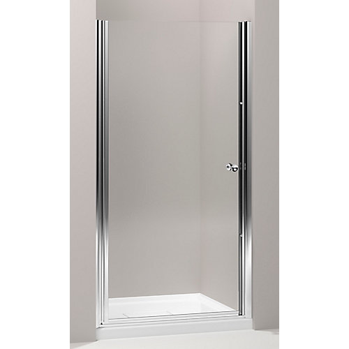 Fluence(R) Frameless Pivot Shower Door in Bright Silver