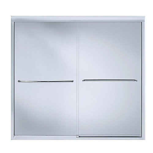 """Fluence(R) sliding bath door, 55-3/4"""" H x 56-5/8 - 59-5/8"""" W, with 1/4"""" thick Crystal Clear glass"""