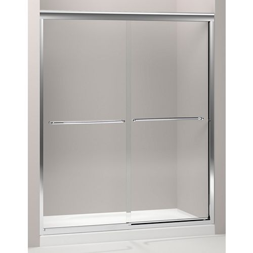 KOHLER Fluence 59.6-inch x 70.8-inch Semi-Frameless Sliding Shower Door in Bright Polished Silver