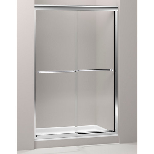 Fluence 47-5/8-inch x 70-5/16-inch Semi-Frameless Sliding Shower Door in Polished Silver with Handle