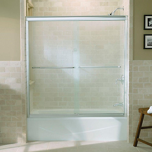 "Fluence(R) sliding bath door, 58-5/16"" H x 56-5/8 - 59-5/8"" W, with 1/4"" thick Falling Lines glass"