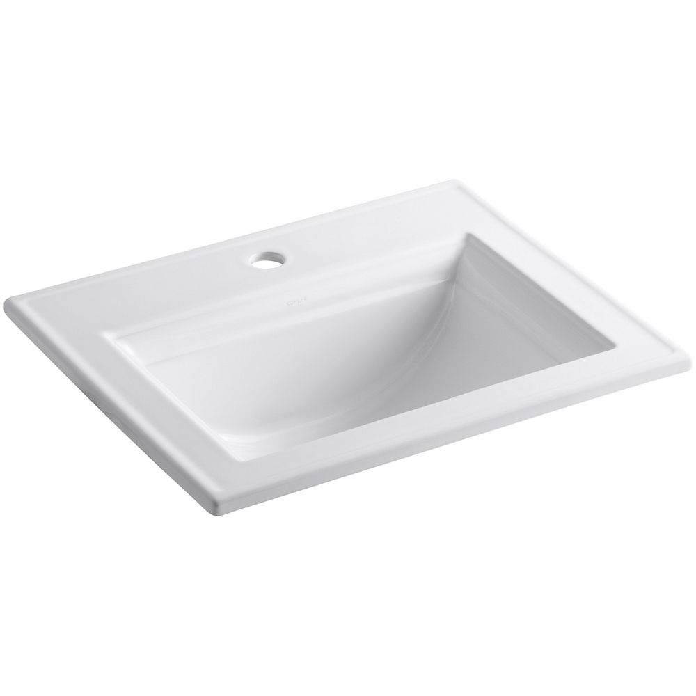 KOHLER Memoirs Stately Drop-In Vitreous China Bathroom Sink with Single Faucet Hole in White