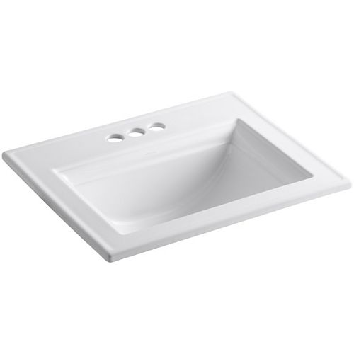 Memoirs(R) Stately drop-in bathroom sink with 4 inch centerset faucet holes