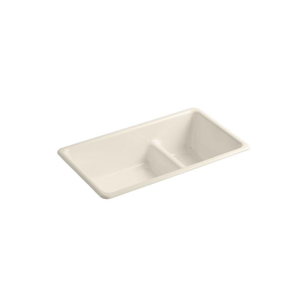 KOHLER Iron/Tones Smart Divide Kitchen Sink in Almond