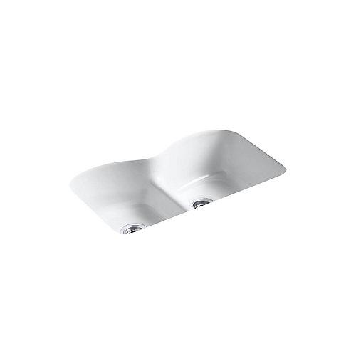 Evier de cuisine Langlade a double cuve egale Smart Divide, en sous-surface, 33 x 22 x 9 5/8 po, avec 6 trous de robinet surdimensionnes
