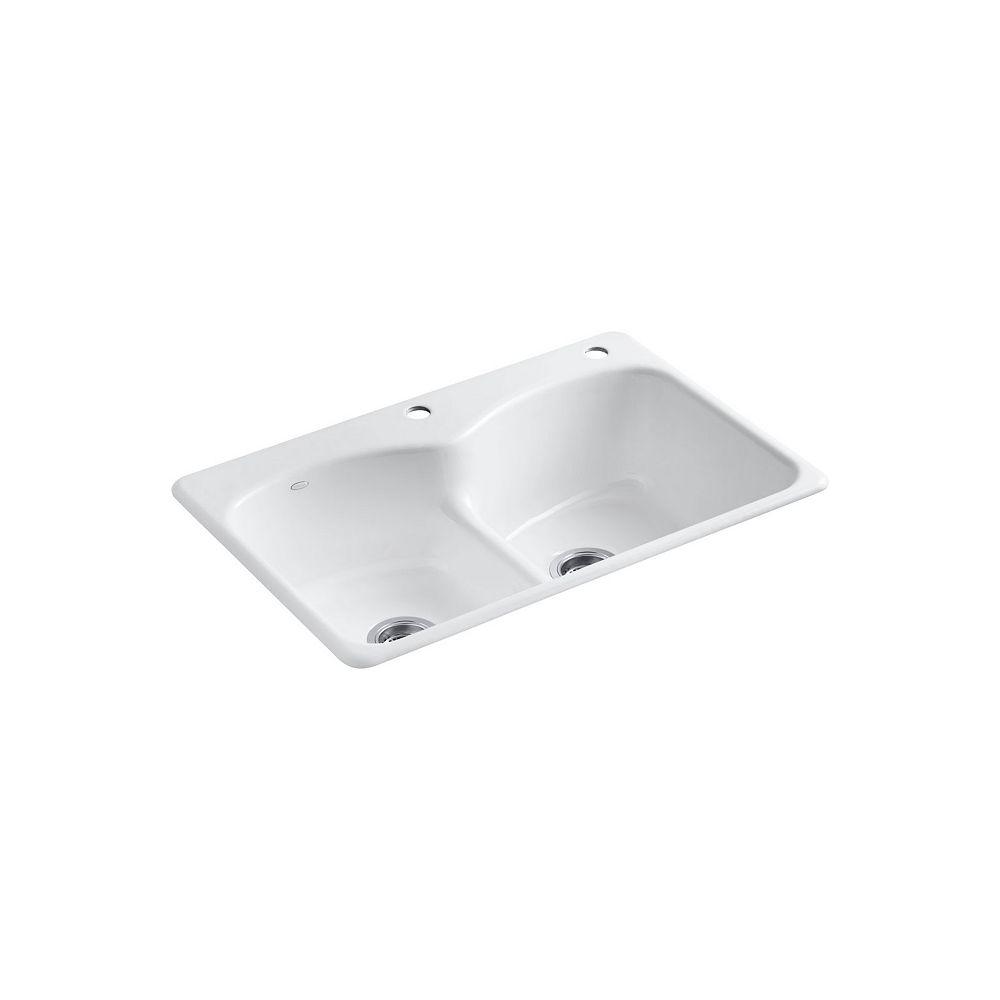 KOHLER Langlade Smart Divide Self-Rimming Kitchen Sink in White - 2 Holes