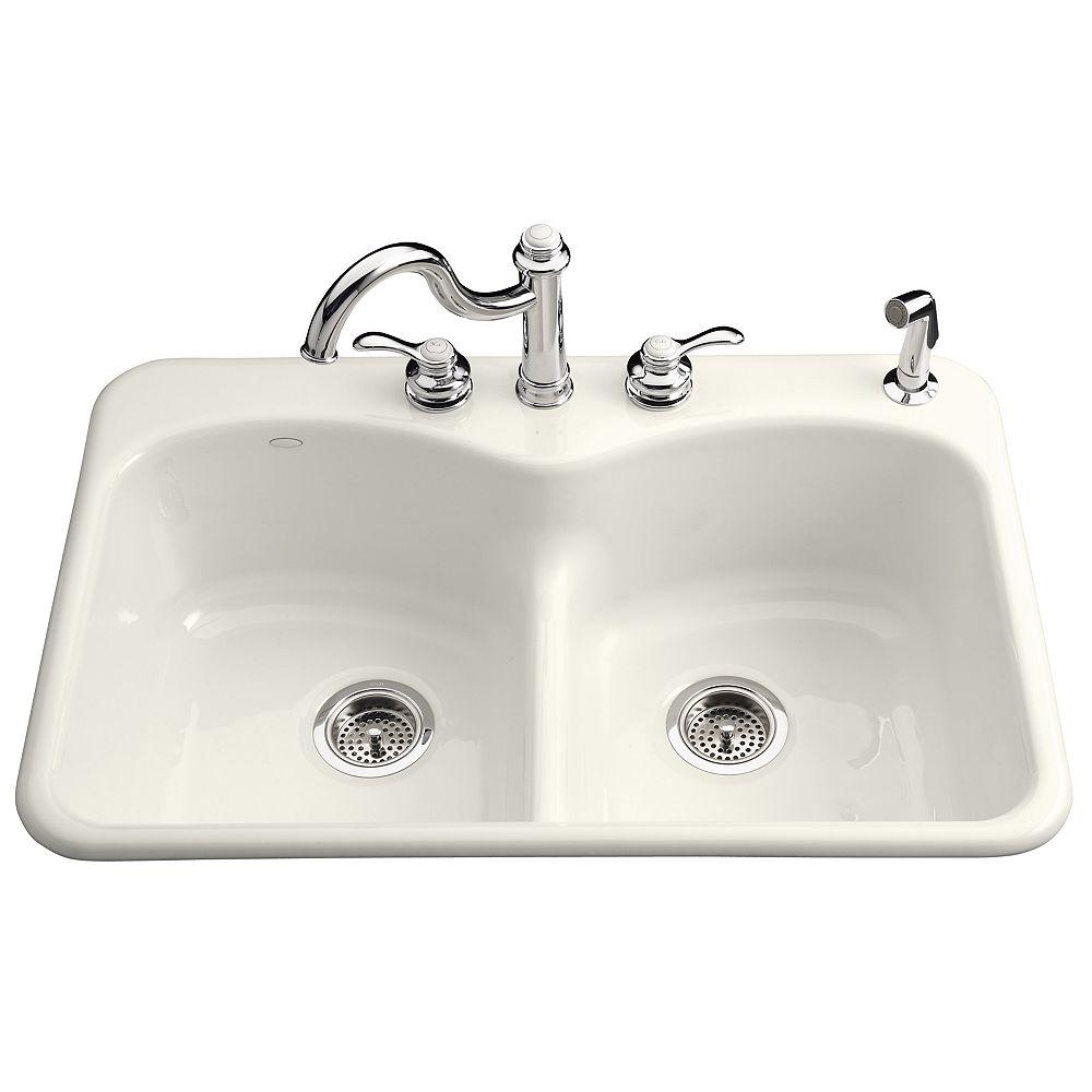 KOHLER Langlade Smart Divide Self-Rimming Kitchen Sink in Biscuit