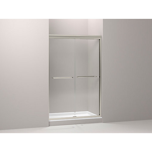 Fluence 59-5/8-inch x 70-5/16-inch Semi-Frameless Sliding Shower Door in Brushed Nickel with Handle