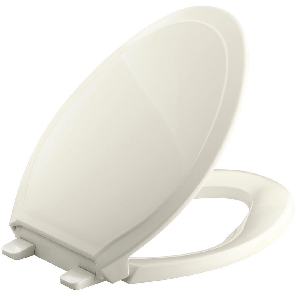 KOHLER Rutledge Quiet-Close Elongated Toilet Seat with Q3 Advantage in Biscuit