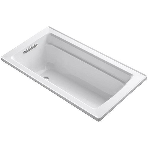 Archer 60-inch x 32-inch Acrylic Drop-In Bathtub with Reversible Drain in White