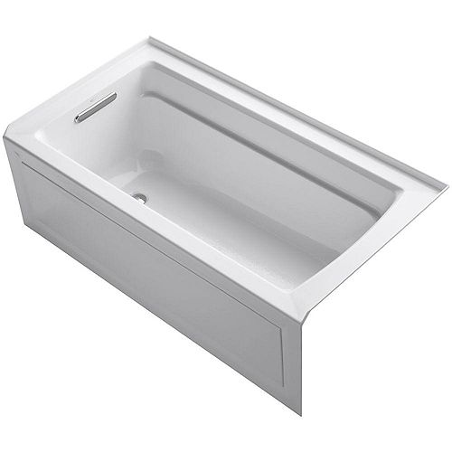 Archer 60-inch x 32-inch Acrylic Alcove Bathtub with Integral Flange and Left-Hand Drain in White