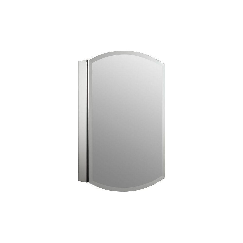 KOHLER Archer 20-inch W x 31-inch H Single Door Mirrored Recessed Medicine Cabinet in Anodized Aluminum