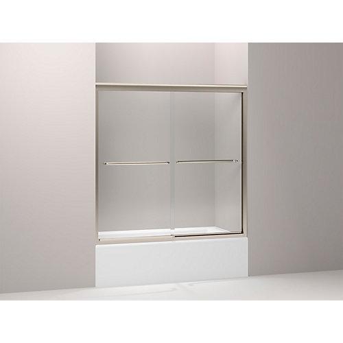 Fluence Frameless Bypass Bath Door in Anodized Brushed Bronze
