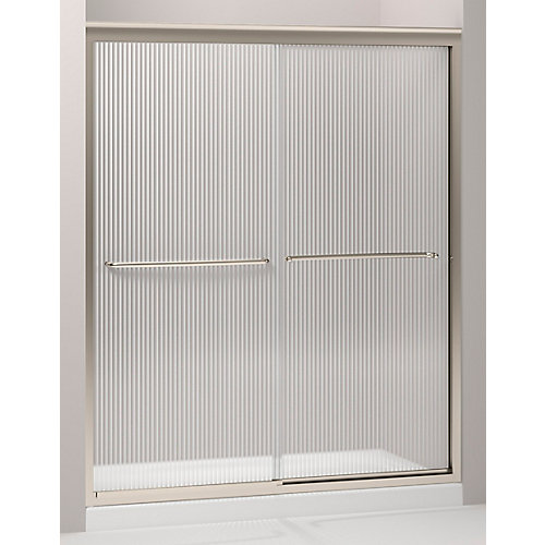 Fluence Frameless Bypass Shower Door in Anodized Brushed Bronze