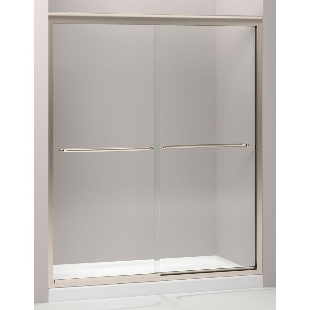 KOHLER Porte de douche coulissante semi-sans cadre Fluence 59,6 pouces x 70,8 pouces en bronze brossé