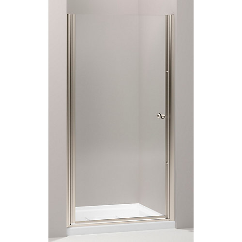 Fluence Frameless Pivot Shower Door in Anodized Brushed Bronze