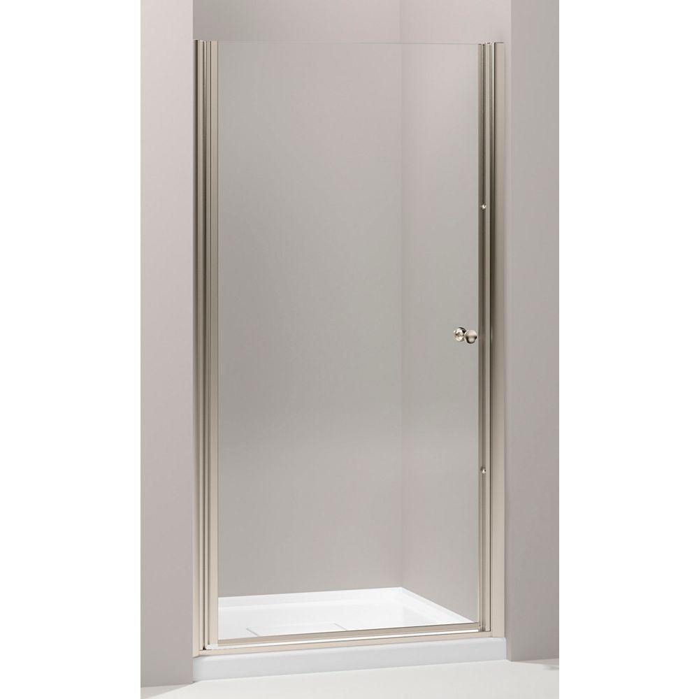 KOHLER Fluence Frameless Pivot Shower Door in Anodized Brushed Bronze