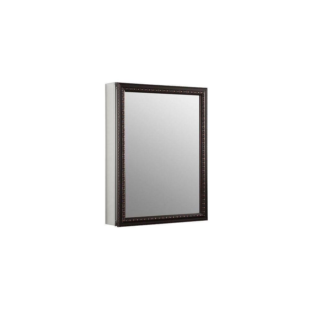KOHLER Armoire a pharmacie en aluminium, 20 x 26 po, avec une porte a miroir encadre en bronze huile