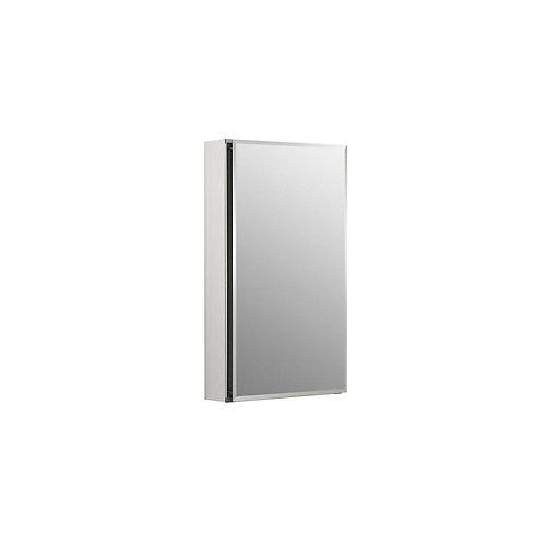 Armoire a pharmacie en aluminium, 15 x 26 po, avec une porte a miroir et bords biseautes
