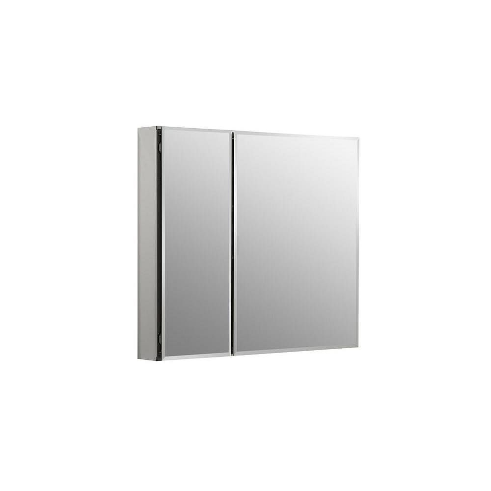 KOHLER Armoire a pharmacie en aluminium, 30 x 26 po, avec 2 portes a miroir et bords biseautes