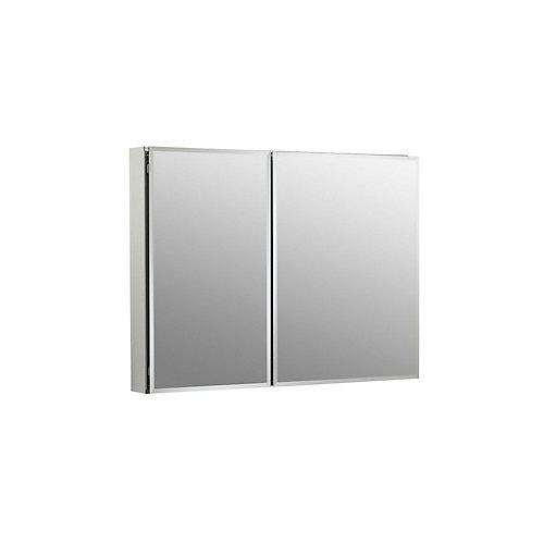 Armoire a pharmacie en aluminium, 35 x 26 po, avec 2 portes a miroir et bords biseautes