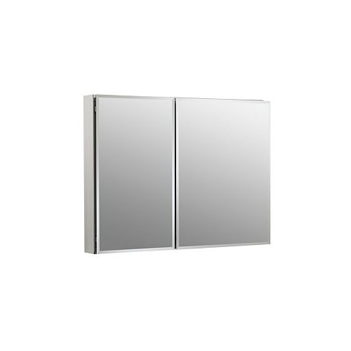 35-inch W x 26-inch H Two-Door Recessed or Surface Mount Medicine Cabinet in Silver Aluminum