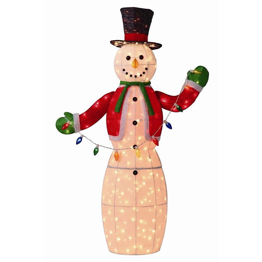 Home Accents Tinsel Snowman, 250 Clear Lights - 5 ft.
