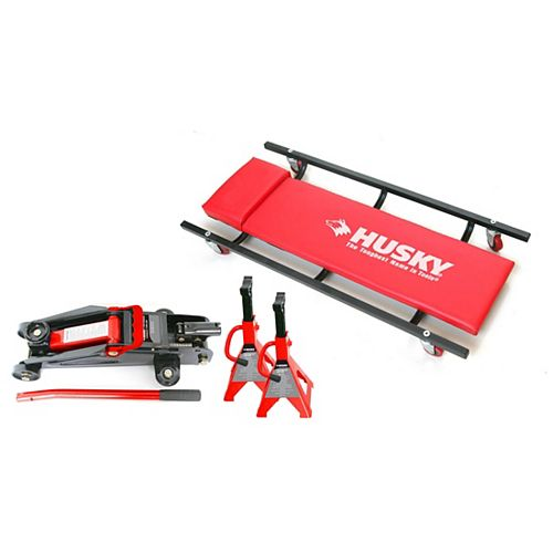 Floor Jack with Creeper and Jack Stands (4-Piece)