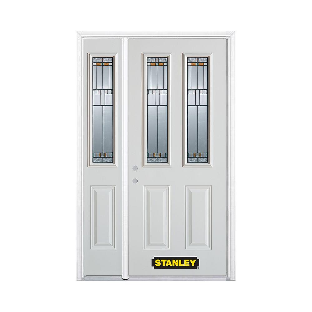 STANLEY Doors Porte dentrée en acier préfini en blanc, munie de deux panneaux et de deux verre, 49 po x 82 po avec panneaux latéraux et moulure de brique - ENERGY STAR®