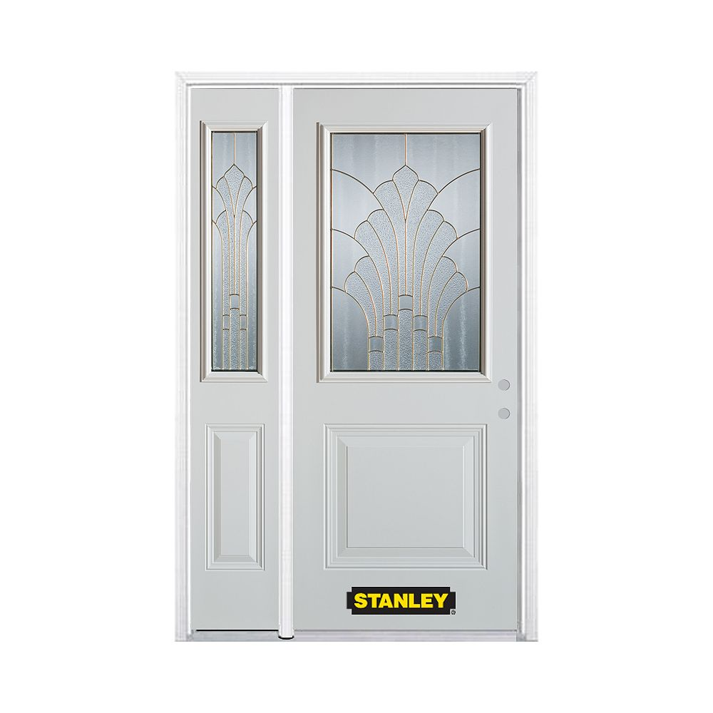 STANLEY Doors 52.75 inch x 82.375 inch Gladis Brass 1/2 Lite 1-Panel Prefinished White Left-Hand Inswing Steel Prehung Front Door with Sidelite and Brickmould