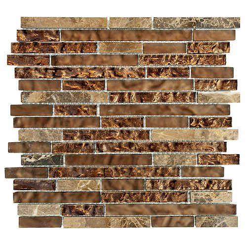 Jeffrey Court Walnut Foil Emperador Pencil 10.75-inch x 11-inch x 8 mm Glass Marble Mosaic Wall Tile