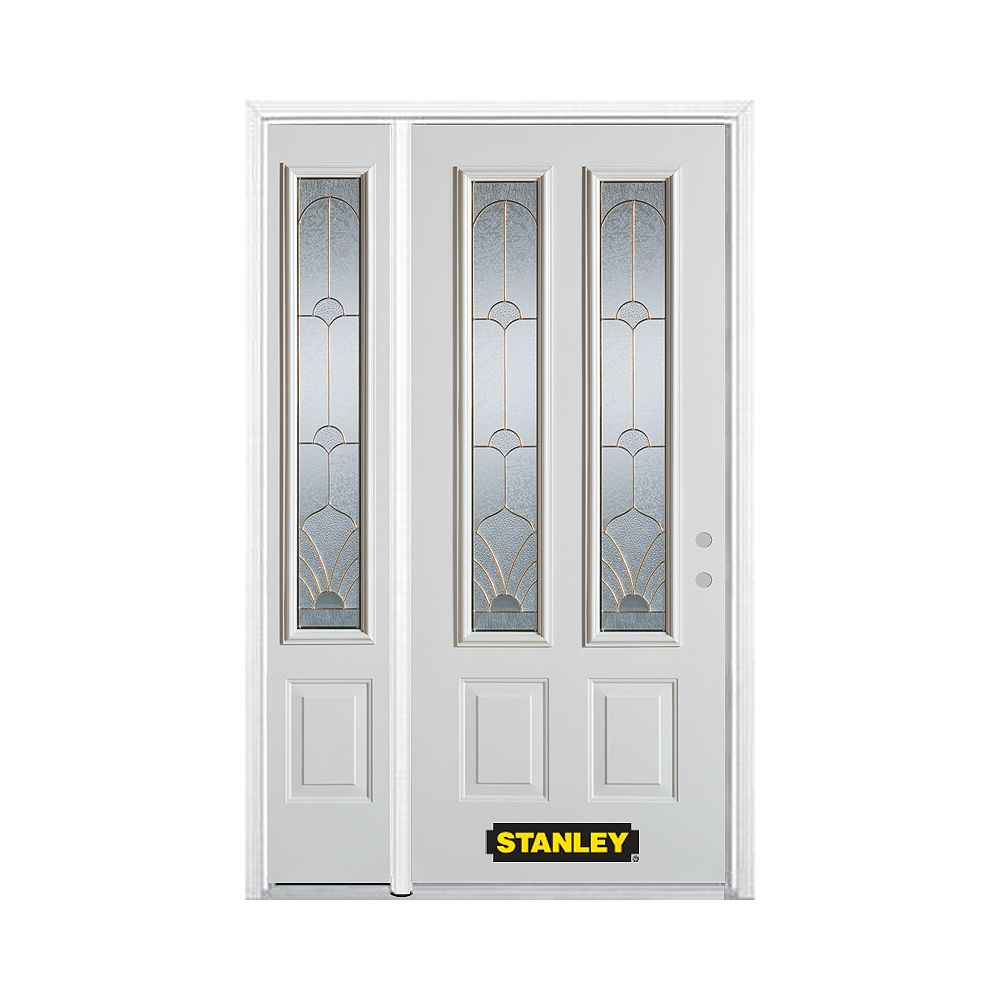 STANLEY Doors 50.25 inch x 82.375 inch Florentine Brass 2-Lite 2-Panel Prefinished White Left-Hand Inswing Steel Prehung Front Door with Sidelite and Brickmould