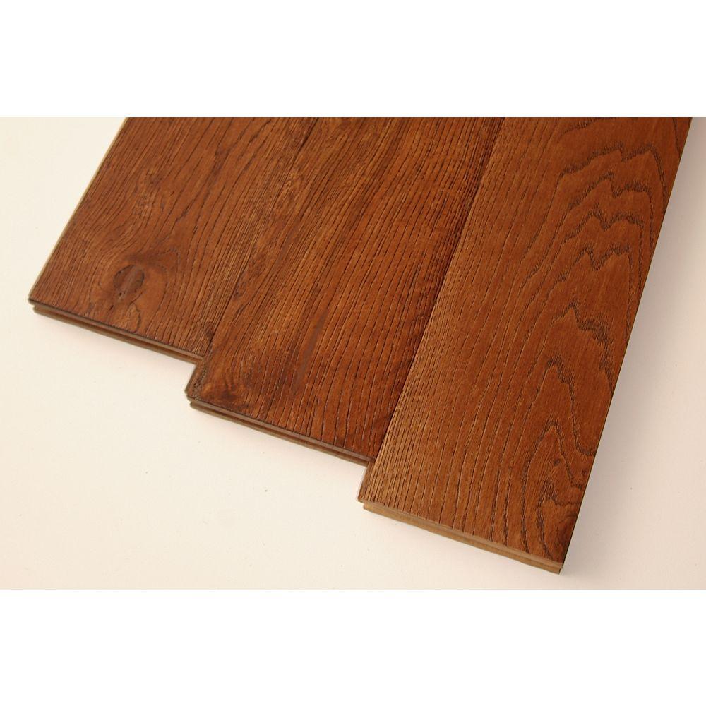 Goodfellow Plancher, bois massif, 3/4 po x 5 po, Chêne blanc brossé noisette, 22,81 pi2/boîte