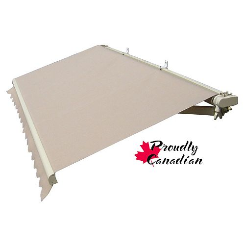 12 ft. Manual Retractable Patio Awning (10 ft. Projection) in Solid Beige