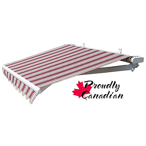 12 ft. Manual Retractable Patio Awning (10 ft. Projection) in Burgundy/Beige Stripes