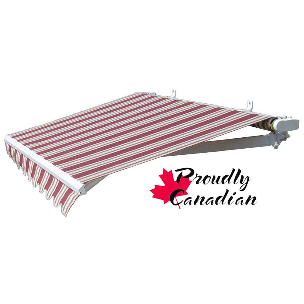 Rolltec 12 ft. Manual Retractable Patio Awning (10 ft. Projection) in Burgundy/Beige Stripes