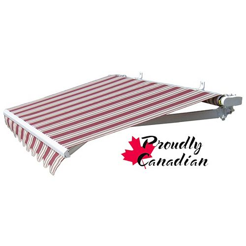16 ft. Manual Retractable Patio Awning (11 ft. 8-inch Projection) in Burgundy/Beige Stripes