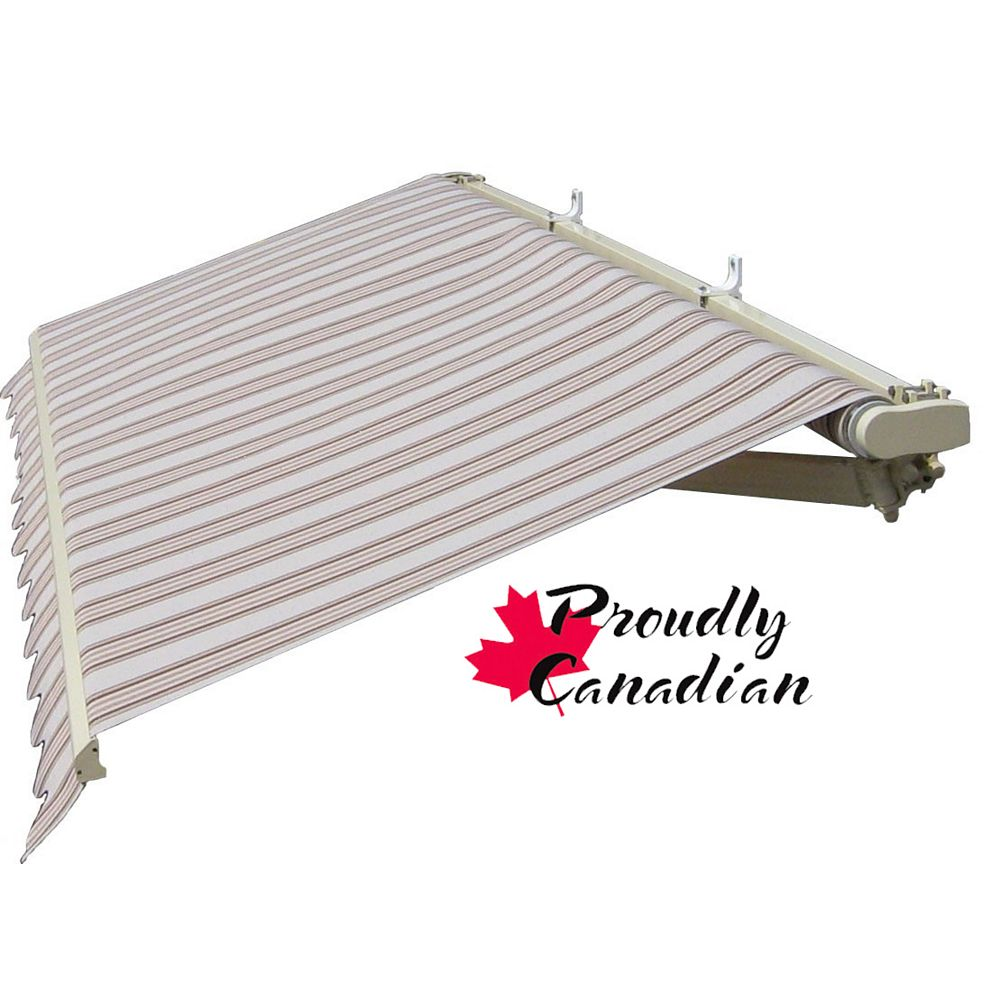 Rolltec 10 ft. Motorized Retractable Patio Awning (8 ft. 8-inch Projection) in Brown/Beige Stripes