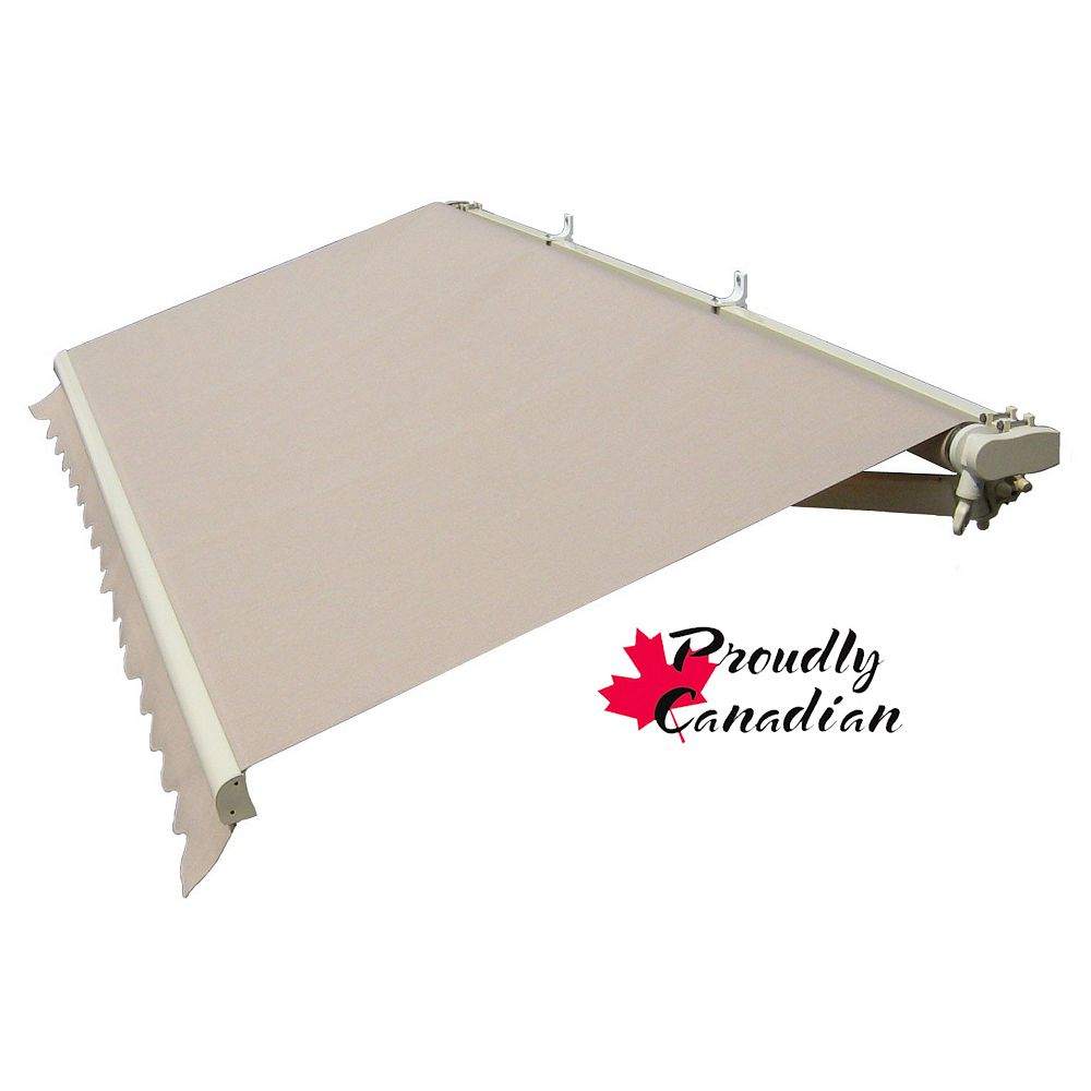 Rolltec 12 ft. Motorized Retractable Patio Awning (10 ft. Projection) in Solid Beige