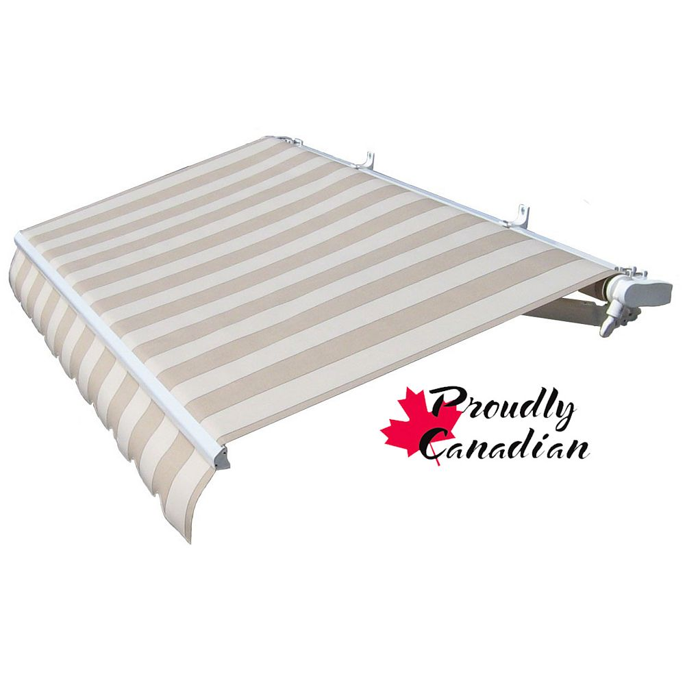 Rolltec 12 ft. Motorized Retractable Patio Awning (10 ft. Projection) in Beige Stripes