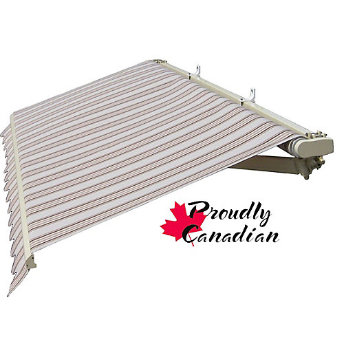 14 ft. Motorized Retractable Patio Awning (11 ft. 8-inch Projection) in Brown/Beige Stripes