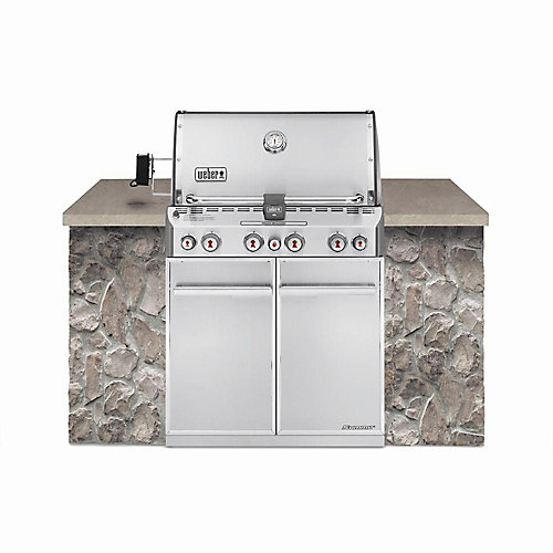 Summit S-460 4-Burner Built-In Propane BBQ in Stainless Steel with BBQ Cover and Built-In Thermometer
